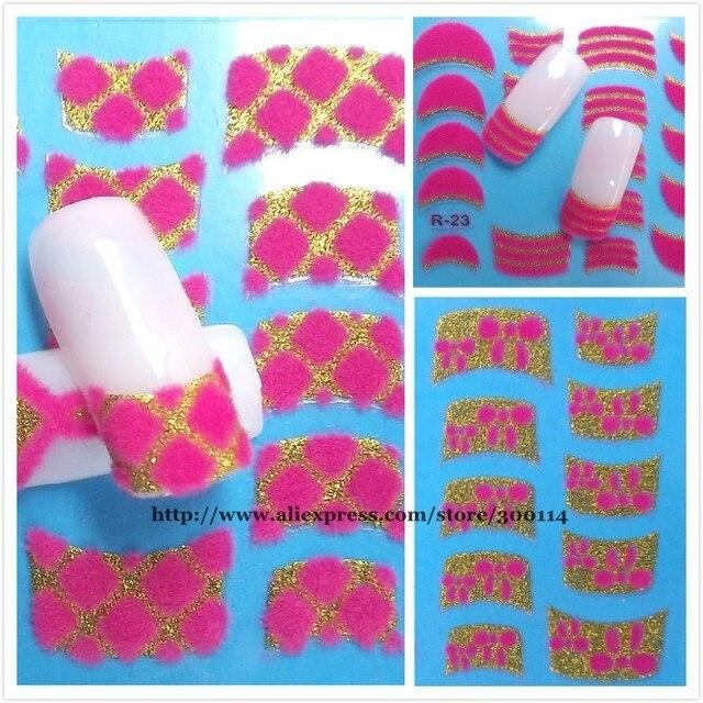 Wholesale 2014 Trendy 3d Nail Art Sticker 24 Designs Velvet Powder