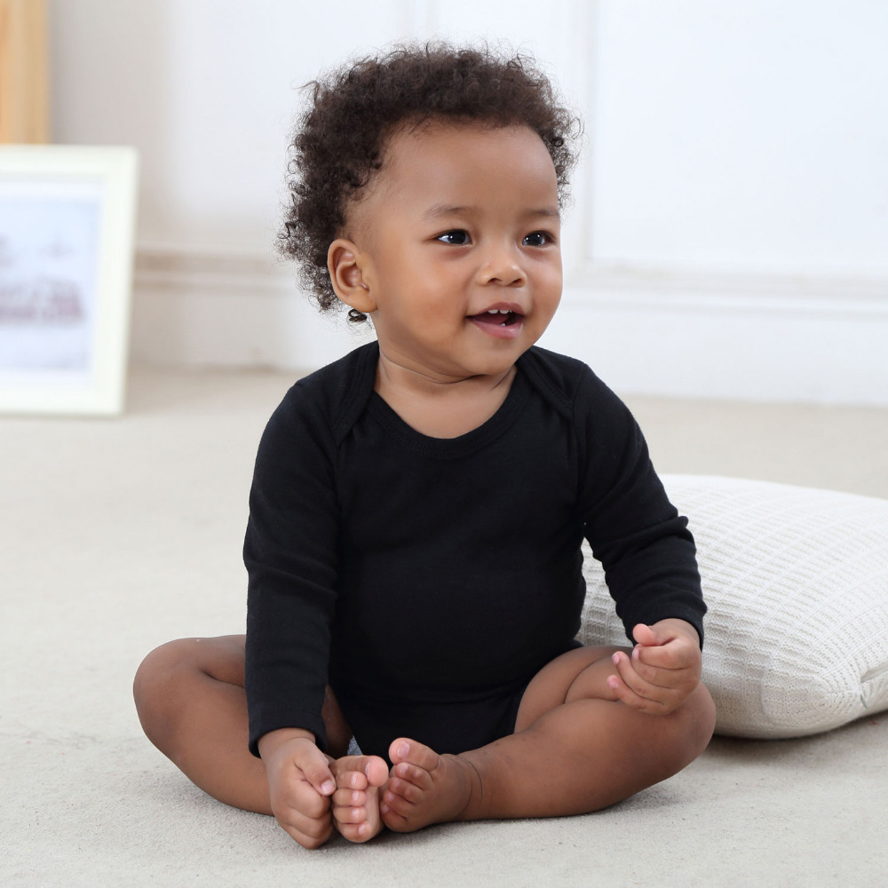 Baby Bodysuit Black Unisex Newborn Baby Clothes 100 Cotton Solid Long Sleeve Jumpsuit Infant Clothing Body Bebes Roupa Menina in Bodysuits from Mother Kids