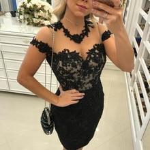Черный коктейльные платья платье с кружевной рукав-крылышко бисером прозрачные элегантные Короткое мини платье, вечерние, выпускные платья