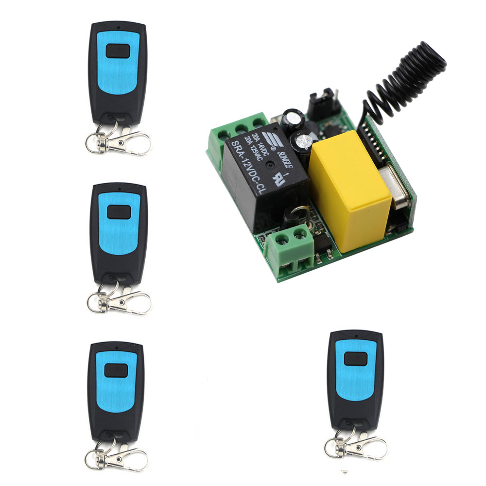 Cheap Price RF Mini Wireless Remote Control Switch AC 220 V 1 CH 4pcs Transmitters and Receiver for Lamps ac 85v 250v 1ch rf wireless remote control switch system 1 transmitters