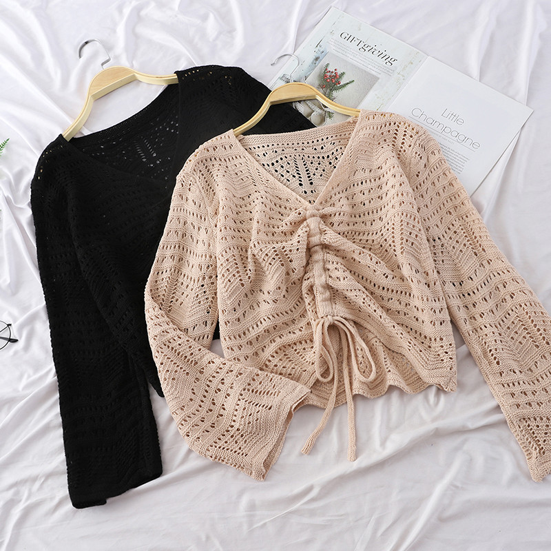 Spring Hollow Out Knitted Pullovers Women Thin Drawstring Sweater Ladies V-Neck Long Sleeve Knitwear Short Bottoming Tops AB1359