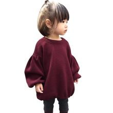 Baby Girl Long Sleeve Knitted Solid Red Sweater Clothes Kids Pleated Sweaters Winter(China)