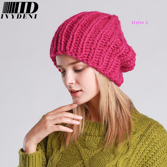 2018 New Fashion Coarse Lines Hand Crochet Caps Female Winter Warm Knitted  Hat For Women Skullies 7dd16f2797e1
