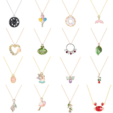 Chereda Cute Dripping Oil Necklaces&Pendants Colorful Moon Heart Shell Gold Necklace Round Tail Elegant Flower Pendants my order