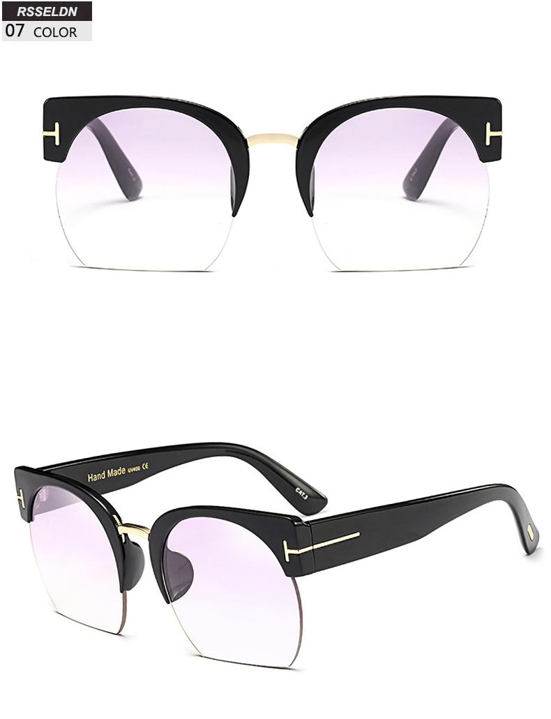 HTB14BNHSpXXXXbhapXXq6xXFXXXJ - RSSELDN Newest Semi-Rimless Sunglasses Women Brand Designer Clear Lens Sun Glasses For Women Fashion Sunglass Vintage oculos