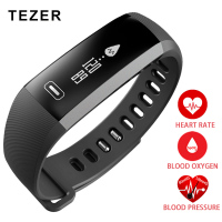TEZER Top Sports Oxygen Oximeter Blood Pressure Smart Bracelet Passometer Purple Black Grey Saat Heart Rate