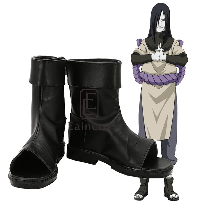 Anime Naruto Orochimaru Cosplay Party Shoes Black Peep Toe Boots Custom Made