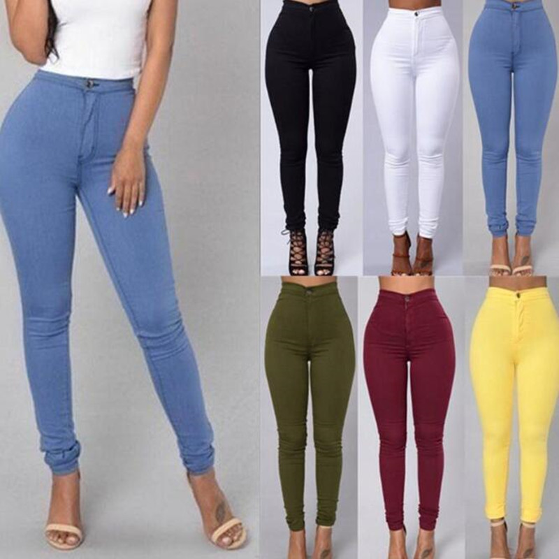 New style hot sale women s stitching high waist tight trousers