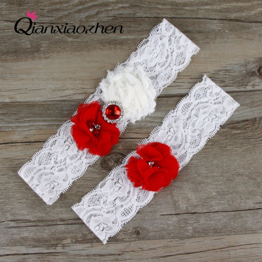 Red Wedding Garters: Qianxiaozhen 2pcs/set Red And White Lace Leg Wedding