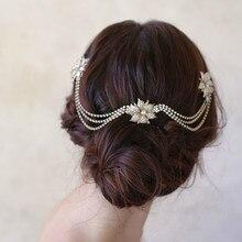 Le liin, свадебные Стразы, волнистая цепочка на голову, свадебный головной убор, бохо для волос, гребень, богемный головной убор, свадебные аксессуары для волос