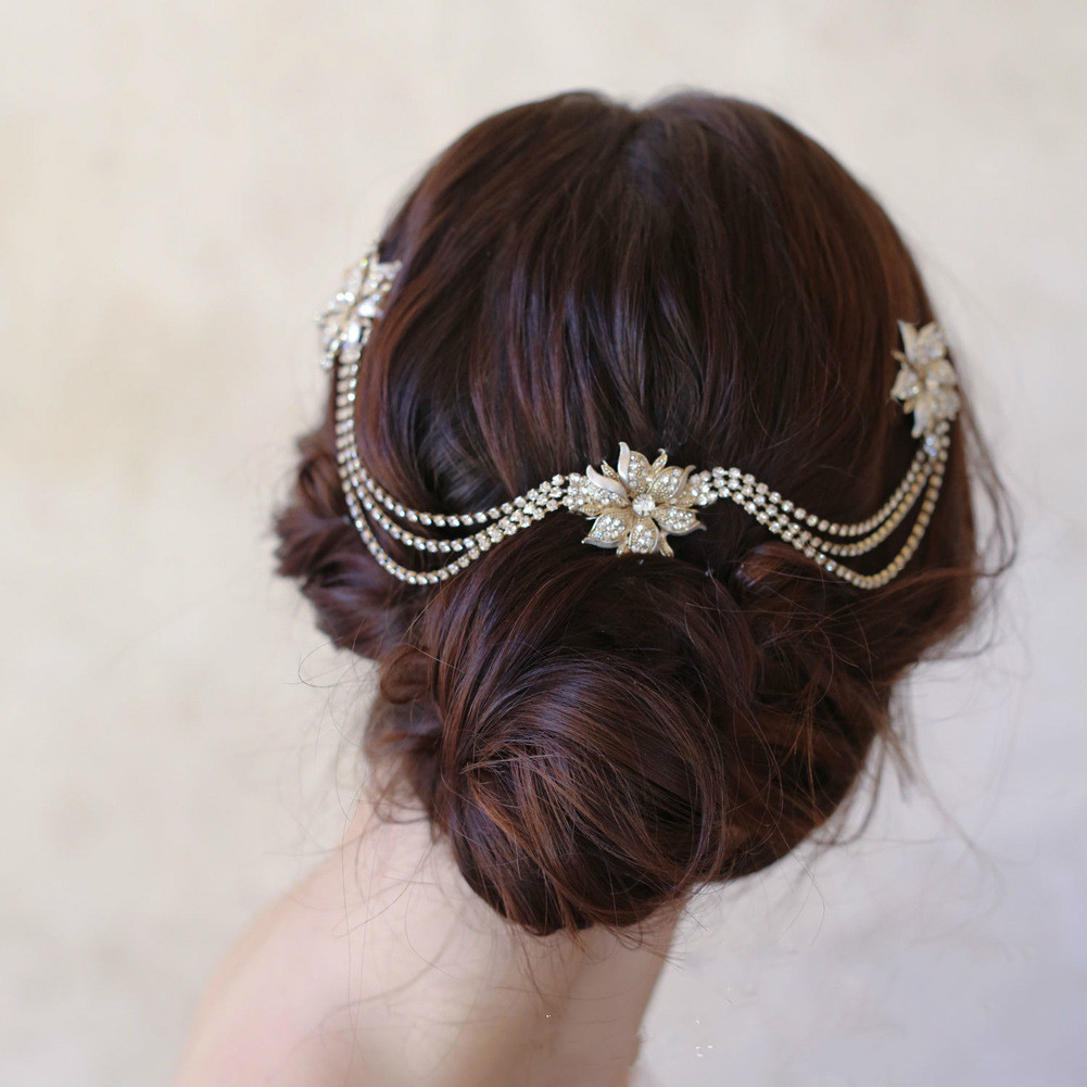 us $4.99 |le liin bride rhinestone ripple head chain bridal headpiece wedding boho hair comb bohemian headdress wedding hair accessory-in hair jewelry