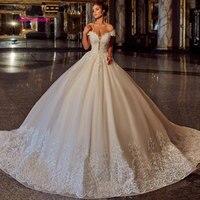LEIYINXIANG New Arrival Appliques Ball Gown Wedding Dresses 2019 Sweetheart Appliques Princess Bride Dresses Lace Robe De Mariee