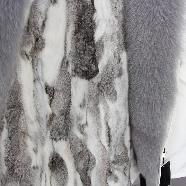 maomaokong 2018 futro biały bawełna kurtka zima futro kurtka