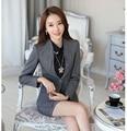New 2017 Autumn Formal Grey Blazer Women Skirt Suits Elegant Jacket Sets Ladies Work Wear Suits Office Uniform Designs OL Style