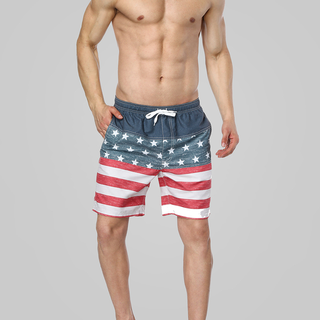Charmleaks Men Swimshorts American Flag Beach Shorts Swimwear Briefs Man Swimsuits Trunks Sea Short Bottoms
