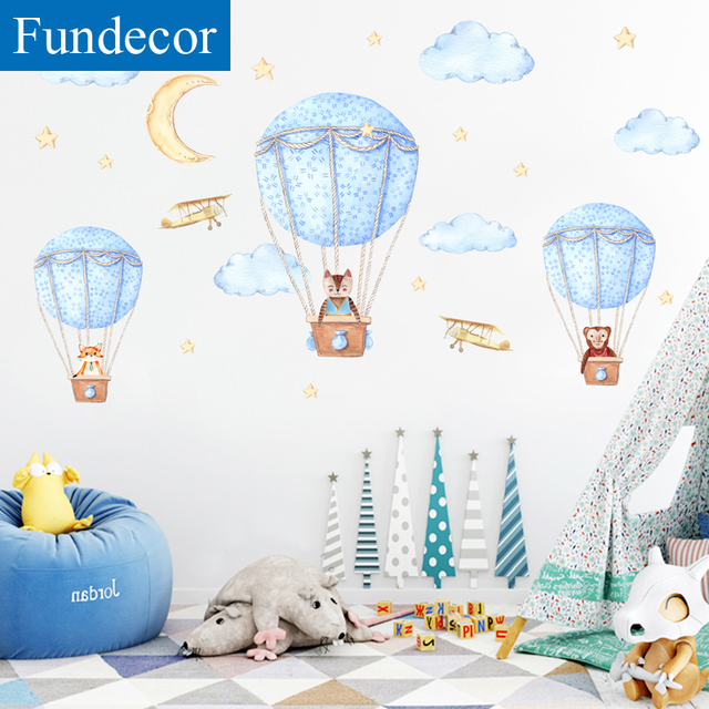 [Fundecor] DIY Cartoon Animal Hot Air Balloon Wall Sticker For Kids Rooms Children Baby Bedroom Wall Decals Self-adhesive Murals
