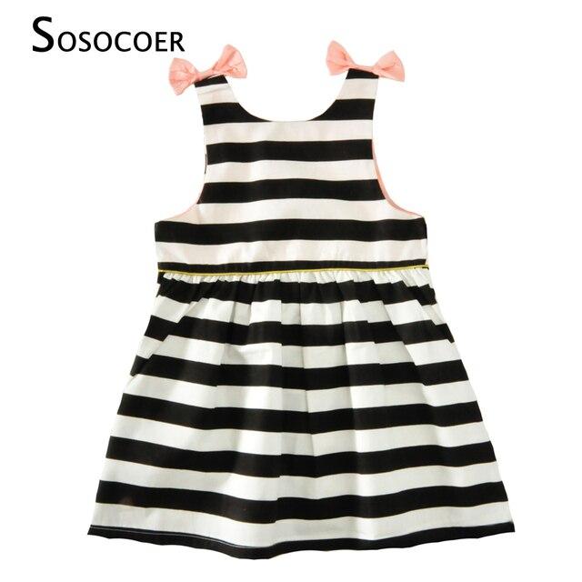 56980cef2 SOSOCOER Girls Dress Summer 2017 New Black White Stripe Kids Party Dress  Baby Girl Clothes Cute Bow Princess Children Dresses