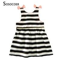 SOSOCOER Girls Dress Summer 2017 New Black White Stripe Kids Party Dress Baby Girl Clothes Cute