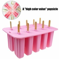 Ice Cream Mould Popsicle Mold Ice Tray Puck Popsicle Mold Ice Cream 10 holes Food Grade Silicone Mold High Quality
