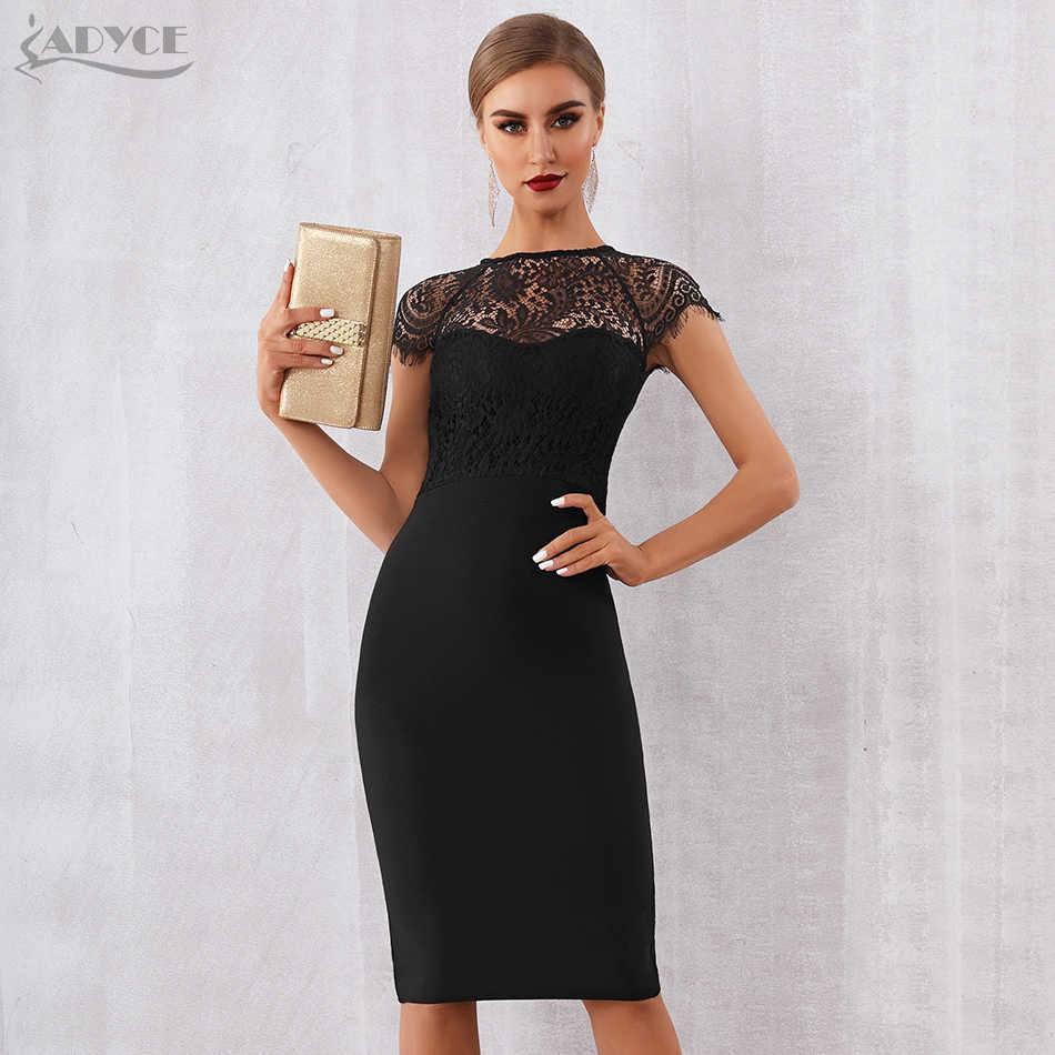 Adyce 2019 חדש קיץ נשים לבן תחבושת שמלת Vestidos סקסי שחור תחרה קצר שרוול חלול את מועדון שמלת ערב המפלגה שמלה