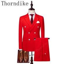 Thorndike de los hombres de la marca pico solapa blanco rojo 3 unidades  pantalones de Chaqueta de traje de corte Slim noche fies. b2bd07bd21e