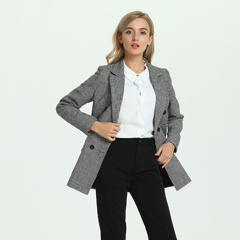 116110da573 LERFEY Autumn Casual Blazer Women Plaid Ladies Blazers Outwear Winter  Double Breasted Coats Office Jackets Blaser Femenino