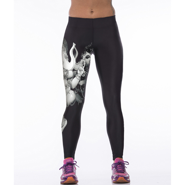 3D Printed Bright Sports Compression Pants for Women