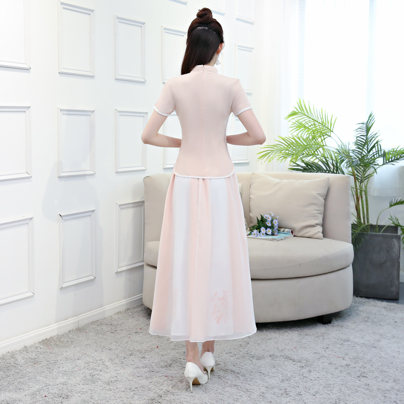 Chinois Femmes Style Cheongsam Chemise Jupe S Mandarin Summer Qipao 2018 Robe Chemisier Col Pc Ensembles Traditionnels Pink Blanc New 2 baby xxl Axpnfwq0