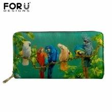 FORUDESIGNS Parrot Women Long Clutch Wallet Large Capacity Wallets Female Purse Lady Purses Phone Pocket Card Holder Carteras