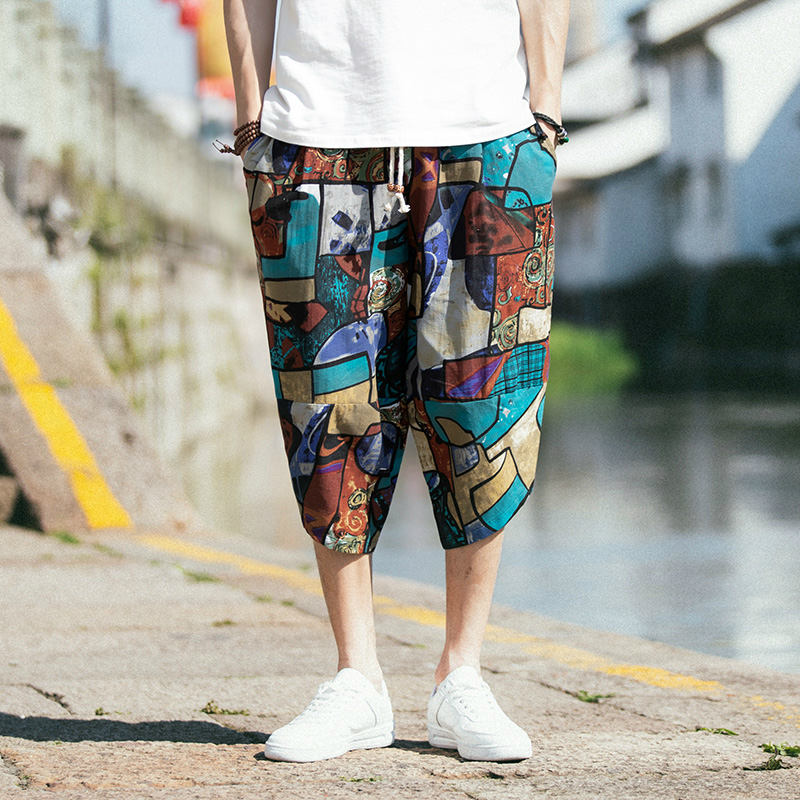 New hip hop street dress Chinese style Miao loose harem pants men's jogging pants fashion men's casual trousers elastic waist pa