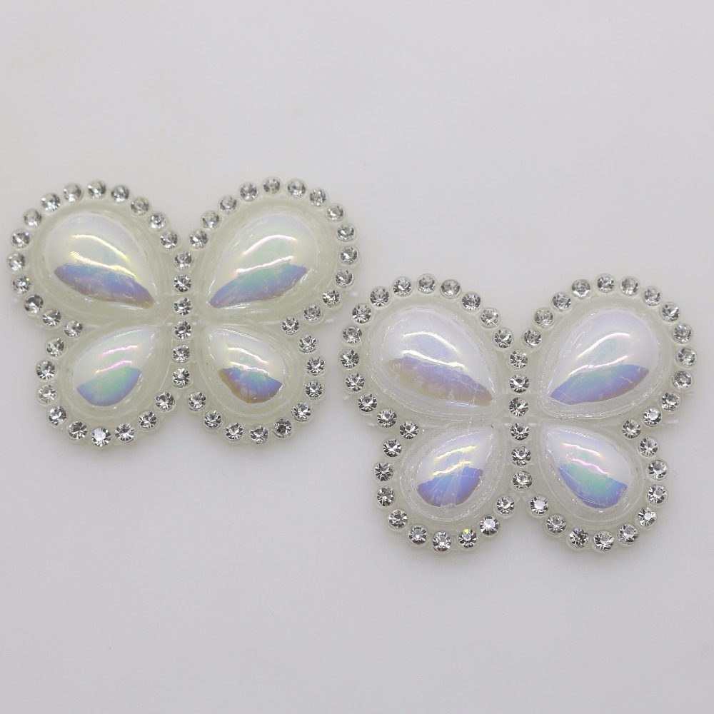 Oneckoha Fashion Ab Color Rhinestone Butterfly Brooch Pin: Fashion 10pc Butterfly Design Hot Fix Motif AB Color Lvory