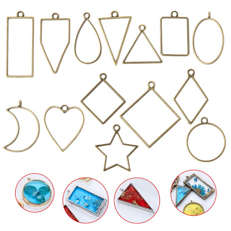 14Pcs Geometric Shape Metal Frame Set DIY Epoxy Resin UV Crystal Silicone Molds Jewelry Pendant Making