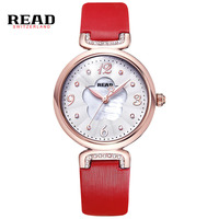 READ New Fashion Ladies Leather Watch White Women Quartz Drill Watches 28043