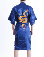 New Arrival Navy Blue Male Silk Robe Chinese Classic Embroidery Night Wear Traditional Kimono Gown Size S M L XL XXL XXXL MR038