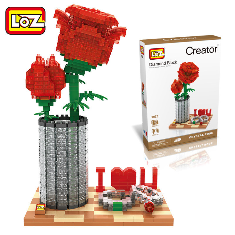 LOZ Diamond Block Crystal Rose I Love You Classic Creator Series Birthday Valentine's Day Gift for Girl 9022 14 years + loz mini diamond block world famous architecture financial center swfc shangha china city nanoblock model brick educational toys
