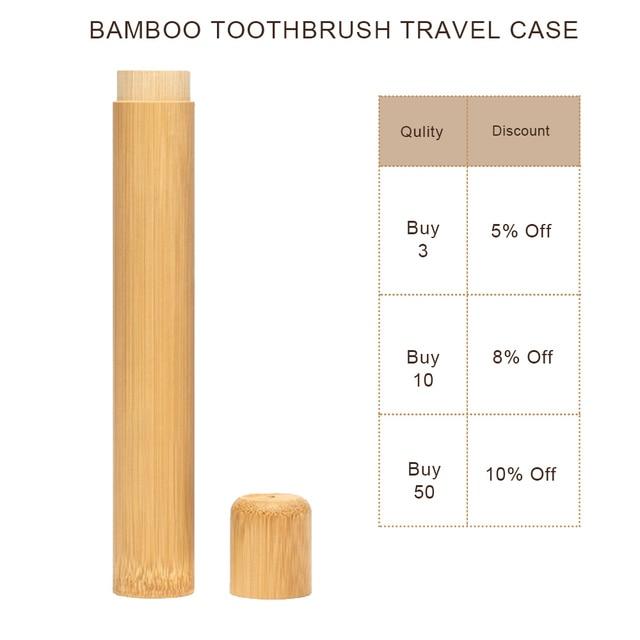 Tubo de bambú Natural para cepillo de dientes estuche ecológico hecho a mano tubo de cepillo de dientes de bambú portátil embalaje de viaje