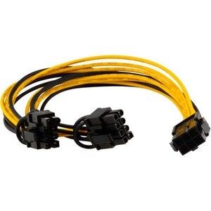1 шт. 20 см PCI-E 6-pin до 2x6 + 2-pin (6-pin/8-pin) Мощность разветвитель кабеля PCIE PCI Express 18 AWG Медь направляющих кабель-удлинитель