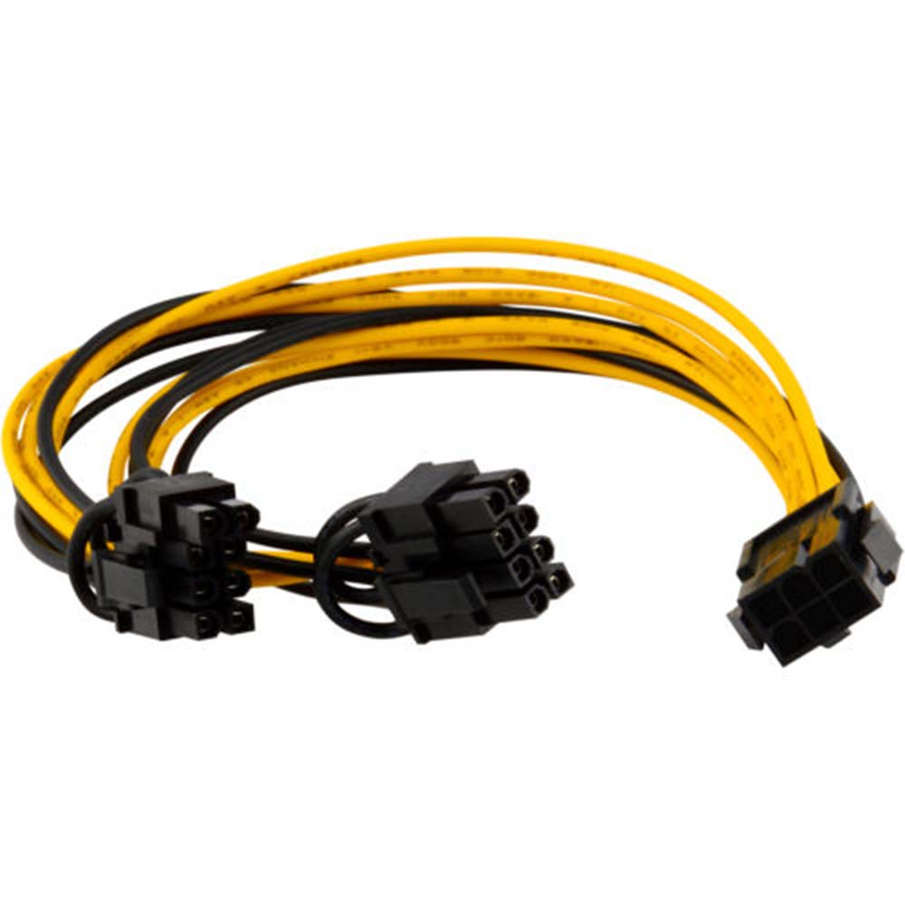 1PC 20cm PCI-E <font><b>6</b></font>-<font><b>pin</b></font> to 2x <font><b>6</b></font>+2-<font><b>pin</b></font> (<font><b>6</b></font>-<font><b>pin</b></font>/8-<font><b>pin</b></font>) <font><b>Power</b></font> Splitter <font><b>Cable</b></font> PCIE PCI Express 18 AWG copper image