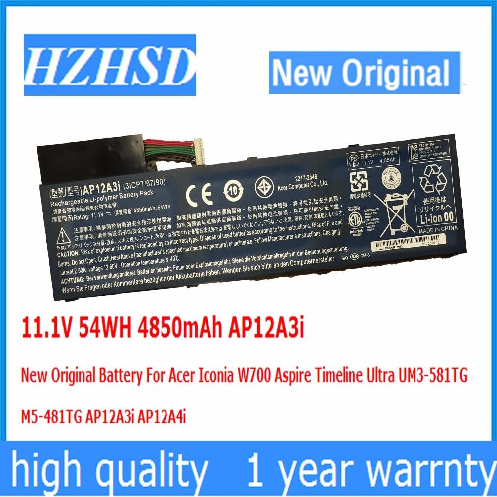 11.1 V 54WH 4850 mAh AP12A3i Nouvelle Batterie D'origine Pour Acer W700 Aspire Timeline Ultra UM3-581TG M5-481TG AP12A3i AP12A4i