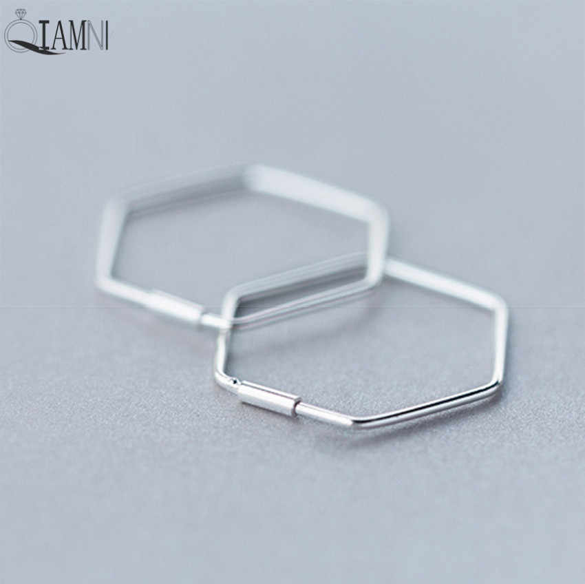 QIAMNI 925 Sterling Silver Hexagonal Geometric Open Stud Earrings for Women Girls Pendientes Christmas Party Jewelry Gift