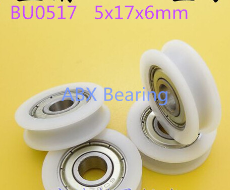 5mm U groove ball bearing BU0517 window and door bearing 5x17x6mm Guide black Pulley Sealed Rail