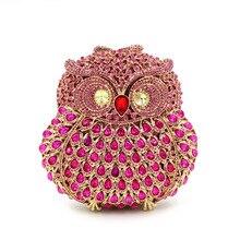 2016 Owl Diamond Women Luxury Handbags Handmade Rhinestones Animal Shape Evening Clutch Bags Crystal Wedding Match Bag