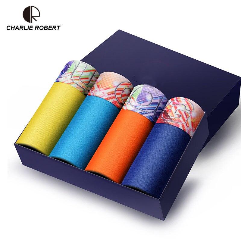 New Men Underwear Gift Box 4pca/lot Soft Breathable Modal Boxer Brand Designer Male Mens Underwear Boxers AU350 Wholesale