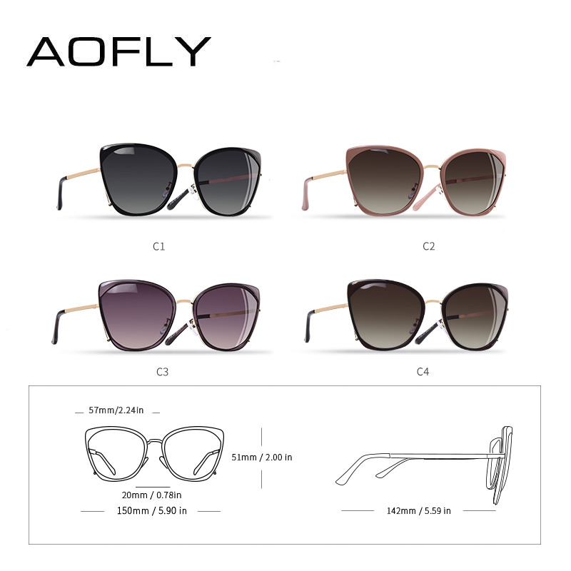 Image 5 - AOFLY BRAND DESIGN Fashion Ladies Cat Eye Sunglasses Women Polarized Sunglasses Female Unique Frame Gradient Lens UV400 A155-in Women's Sunglasses from Apparel Accessories on AliExpress