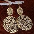 Free Shipping Womens Round Hollow Earrings Gold Filled Dangle Earrings Drop Earing Jewelry TL307