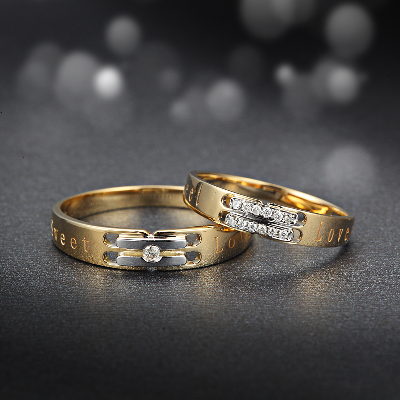 Love Diamond Ring 18K Yellow Gold Diamond Wedding Rings Couple Set