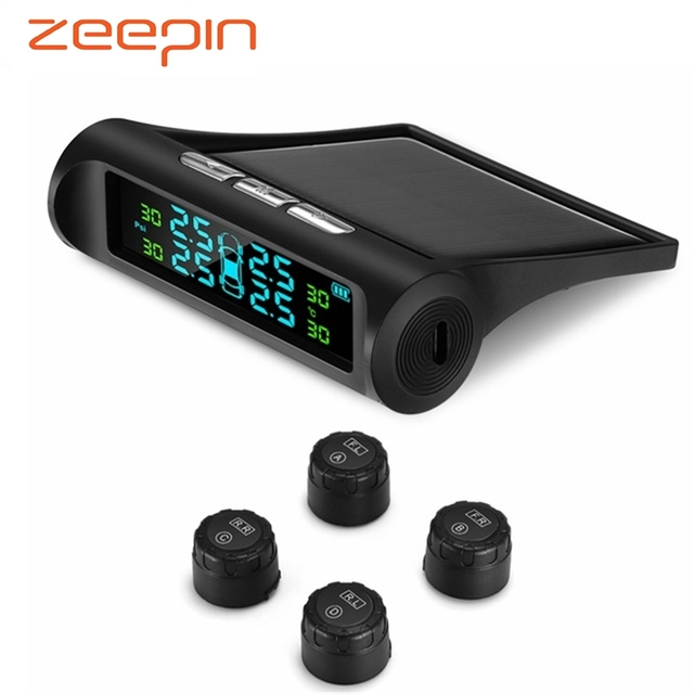 Solar Power USB TPMS Car Tire Pressure Monitoring System LCD 4 External / Internal Sensors for VW Toyota SUV Temperature Warning