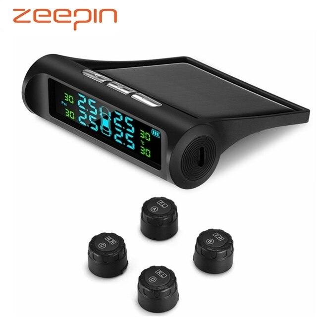Солнечный мощность USB TPMS автомобильных шин давление мониторинга системы ЖК дисплей 4 внешних датчики для VW Toyota SUV температура Предупреждение
