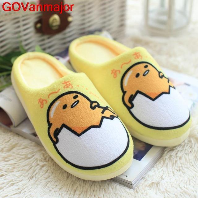 92ba7d071a7 Japan Egg Yolk Gudetama Lazy Guy Slippers Cotton Yellow Plush Indoor Winter  Slippers Women