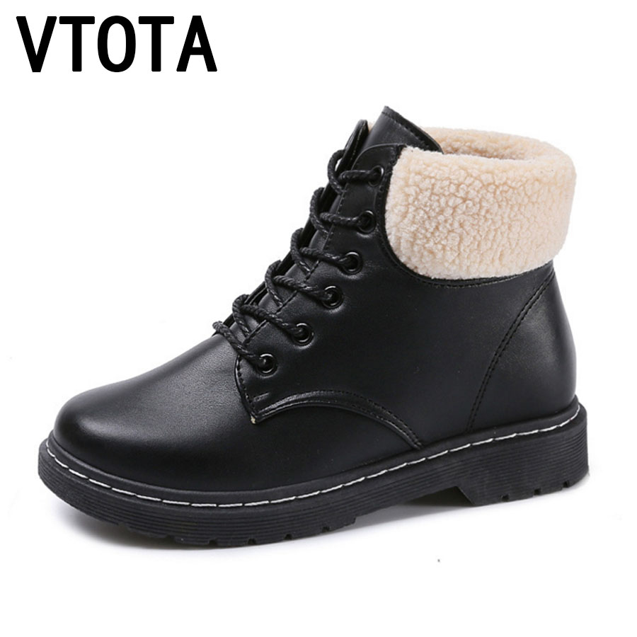 VTOTA Women Snow Boots Warm Flat Martin Boots Black Lace -Up Flatform Shoes Ankle Boots For Women Botas Mujer Shoes Woman E70 vtota snow boots women winter boots hot warm fur flat platform shoes women slip on shoes for women botas mujer ankle boots e62
